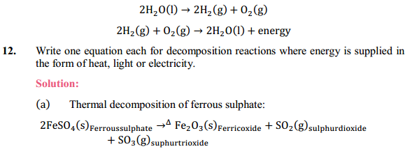 NCERT Solutions for Class 10 Science Chapter 1 Chemical Reactions and Equations 1.10