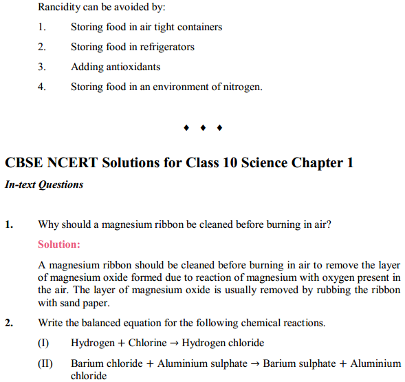 NCERT Solutions for Class 10 Science Chapter 1 Chemical Reactions and Equations 1.17