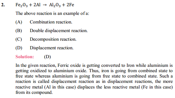 NCERT Solutions for Class 10 Science Chapter 1 Chemical Reactions and Equations 1.2