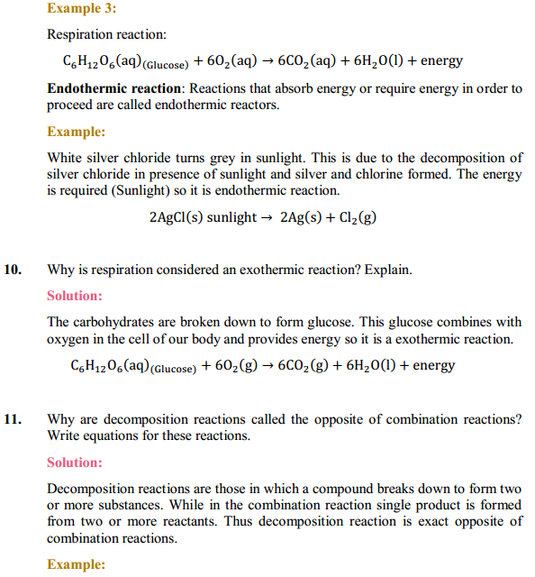 NCERT Solutions for Class 10 Science Chapter 1 Chemical Reactions and Equations 1.9