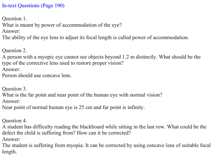 NCERT Solutions for Class 10 Science Chapter 11 The Human Eye and the Colourful World 1