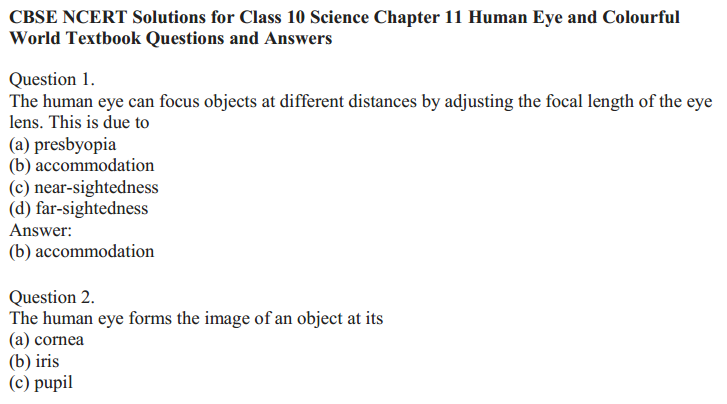 NCERT Solutions for Class 10 Science Chapter 11 The Human Eye and the Colourful World 2