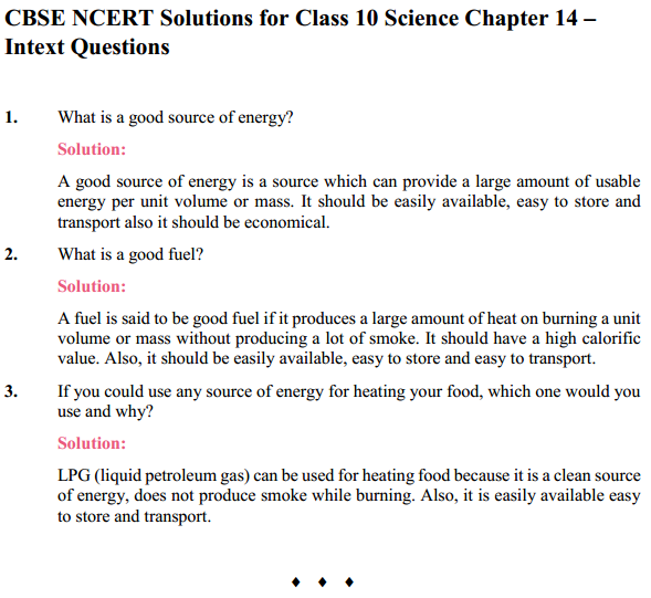 NCERT Solutions for Class 10 Science Chapter 14 Sources of Energy 1