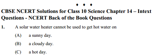 NCERT Solutions for Class 10 Science Chapter 14 Sources of Energy 8