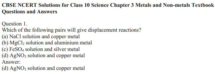 NCERT Solutions for Class 10 Science Chapter 3 Metals and Non-Metals 10