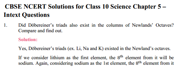 NCERT Solutions for Class 10 Science Chapter 5 Periodic Classification of Elements 11