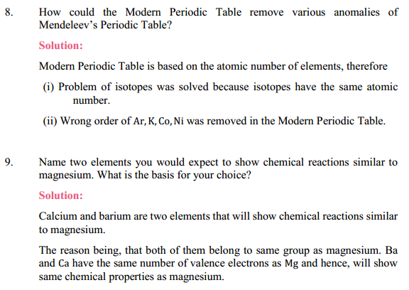 NCERT Solutions for Class 10 Science Chapter 5 Periodic Classification of Elements 15
