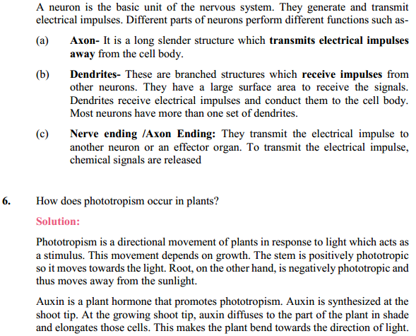 NCERT Solutions for Class 10 Science Chapter 7 Control and Coordination 5
