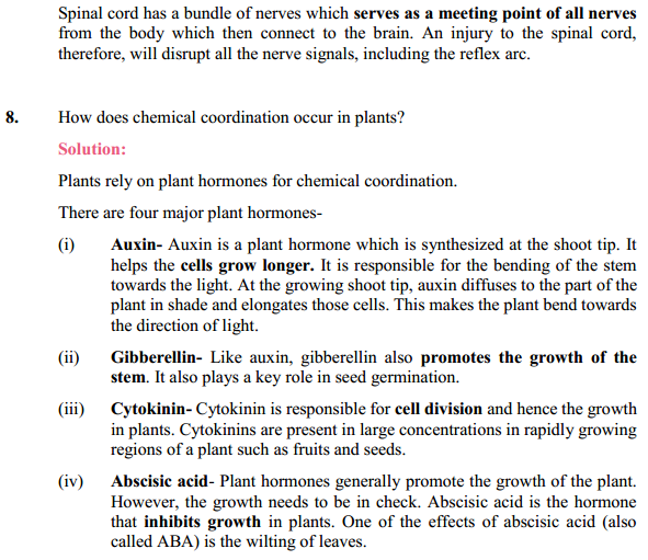 NCERT Solutions for Class 10 Science Chapter 7 Control and Coordination 7